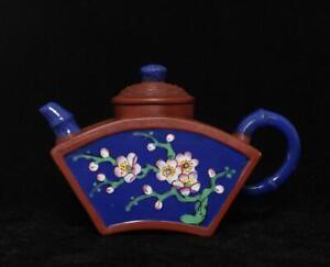 Qianlong Signed Old Chinese Handmade Yixing Zisha Teapot w/flowers