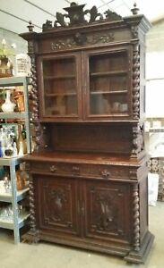 details sur ancien meuble en bois buffet de salle a manger cuisine 4 portes 2 tiroirs
