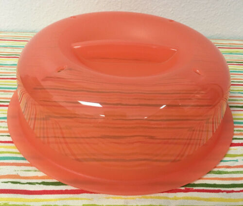 tupperware microwave plate cover vented no mess splatter guard coral 8 new