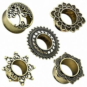 Flesh Tunnel Ohr Plug Piercing Schmuck Vintage Antik Gold Ethno Ornament Stecker