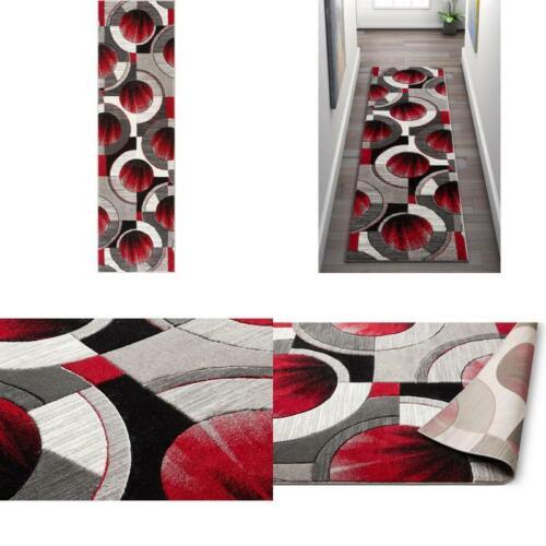 ruby yolo 2 ft x 7 ft runner modern geometric shapes red grey runner rug