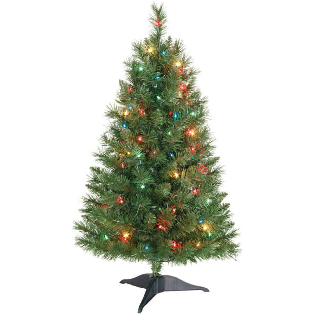 Holiday Time Winston Pine 3 Ft Pre Lit Christmas Tree With Multi Color Lights
