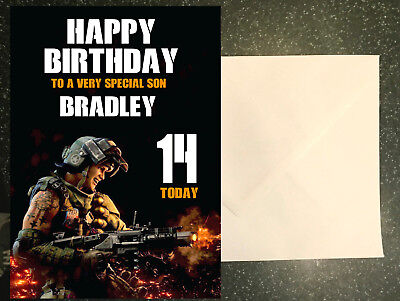 Home Garden Greeting Cards Party Supply Personalised Photos Name Call Of Duty Black Ops Theme A5 Birthday Card
