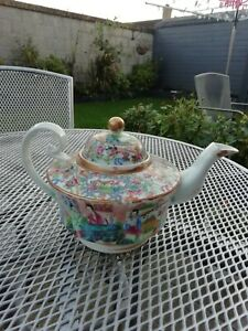 STUNNING LARGE ANTIQUE CHINESE FAMILLE ROSE TEA POT WITH LID LOOK