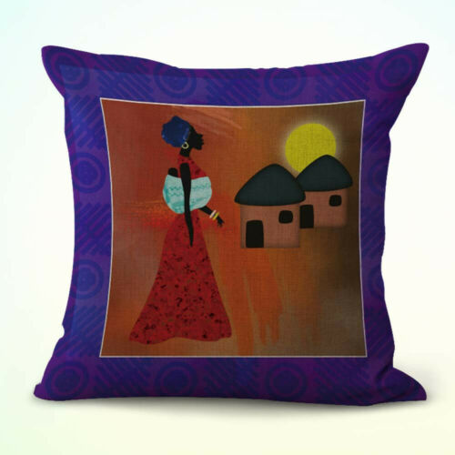 set of 4 african lady life cushion covers zippered throw pillow cover home decor indian south asian home decor pillows