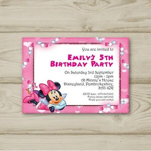 Disney Minnie Mouse Birthday Party Invitations Personalised Ebay