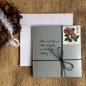 Details About Wedding Invitation Handmade Personalised Silver Diy Lace Jute Rustic Eco Shimmer