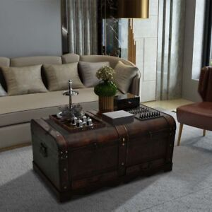 details about wooden chest coffee table living room treasure trunk storage box 2 drawers brown