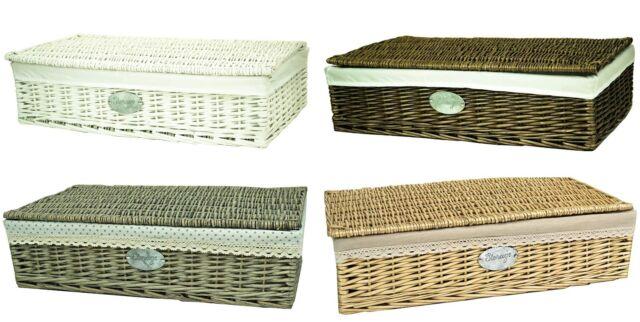 e2e willow wicker underbed under bed storage basket cotton lining