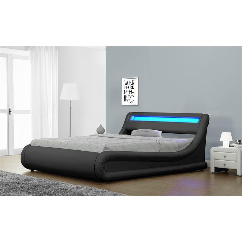 kingway furniture brose led storage platform california king bed in black