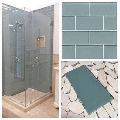 3 x6 sea blue crystal glass subway tile for kitchen bathroom shower spa wall ebay