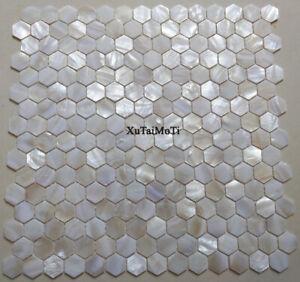 white hexagon shell mosaic tile mother