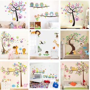 Nursery Removable Animal Tree Wall Sticker For Kids Room Home Decor Vinyl Art SY