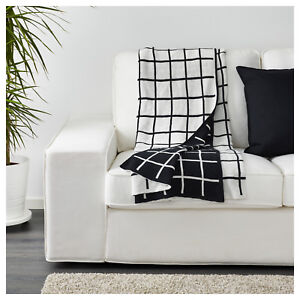 Ikea Throw Rug Bedspread Checked Blanket Couch Sofa Lounge