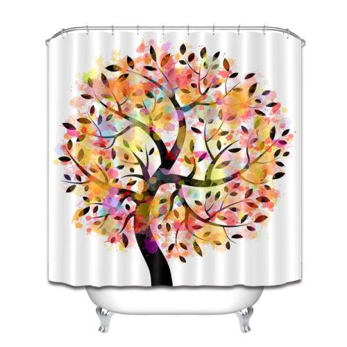 polyester waterproof fabric fantasy watercolor tree shower curtain set hooks 72