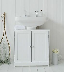 En Bois Blanc Salle De Bain Evier Meuble Sous Vasque 2 Etagere Armoire Meuble De Rangement Ebay