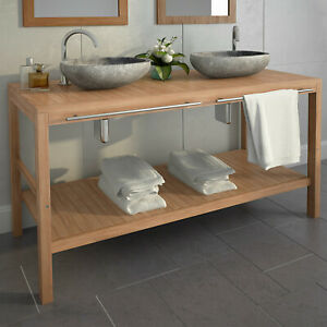 Vidaxl Bois De Teck Massif Meuble De Salle Bain Vasque Toilette Multi Taille Ebay