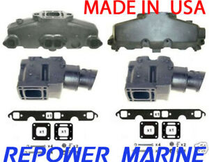 details about exhaust manifold riser set for mercruiser 5 0 5 7l v8 350 mag made in usa