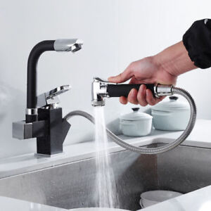 details about black 360 swivel spout kitchen sink mixer taps with pull out bidet spray tap