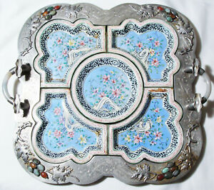 Antique Chinese Sweet Meat Tray JADEITE HANDLES ENAMELED INLAID STONES PEWTER