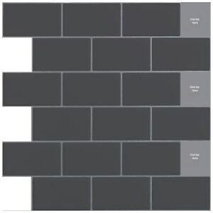 details about peel and stick backsplash gray subway tiles 12x12 10 pk kitchen bathroom