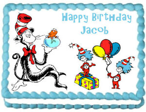 Cat In The Hat Party Edible Cake Topper Image Ebay