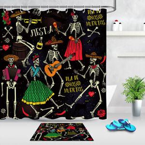 details about dia de los muertos day of the dead skull band dancer bathroom shower curtain set