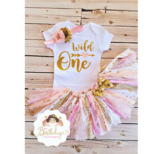 Wild One Birthday Outfit Rag Tutu Set Pink And Gold Handmade Pink And Gold Tutu Ebay