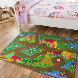 details sur enfants ferme tapis de jeu vert tracteur tapis animaux county kids play tapis creche uk afficher le titre d origine