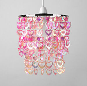 girls childrens bedroom nursery pink hearts ceiling light lamp