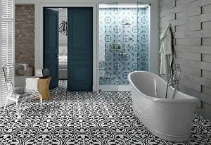 TILE DEALS   SAMPLES Parisa Grey Vintage Moroccan Victorian Wall     Image is loading TILE DEALS SAMPLES Parisa Grey Vintage Moroccan Victorian