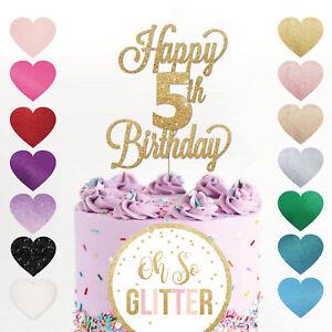 Happy 5th Birthday Cake Topper Five 5 Glitter Any Age 5th Five Custom Fifth Ebay