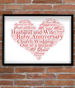 Personalised Ruby Wedding Anniversary Gift Personalised 40th Anniversary Gift Ebay