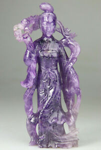 ANTIQUE CHINESE STATUE FIGURE KWANYIN LADY AMETHYST CARVED STAND - QING 19TH