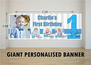 Personalised Giant Large Boys 1st First Happy Birthday Banner N62 Ebay