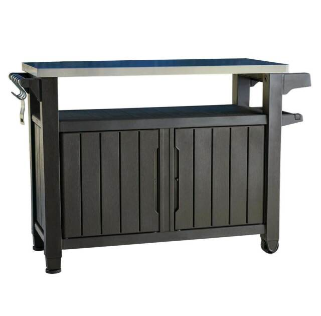 keter unity xl patio storage 78 gal grill serving prep station cart brown