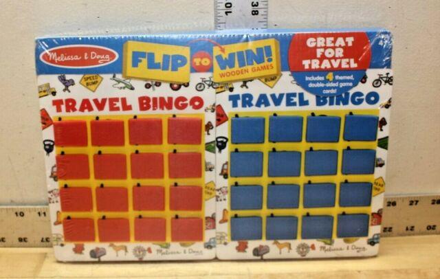 Melissa Doug Flip To Win Wooden Game Travel Bingo Set 2091 Toy