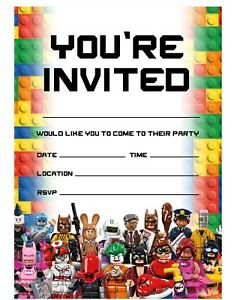 details about lego theme birthday party invitations lego invites children boys girls kids