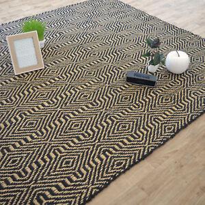 details sur tapis en jute 100 naturel motifs geometrique bicolore fibre vegetale indien