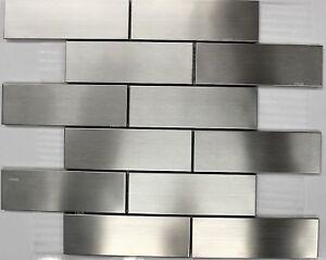 details about sub way stainless steel subway metal mosaic tiles backsplash wall bath bar tile