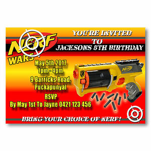 details about personalised nerf wars birthday party invitations you print