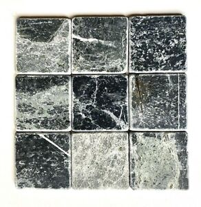 details about 4x4 victorian dark green black tumbled marble wall and floor tile 1 sf