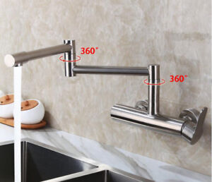 details about wall mounted kitchen sink faucet mixer flexible folding spout tap brushed nickel