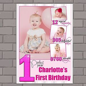 Personalised Girls First 1st Happy Birthday Photo Poster Print Banner N128 Ebay
