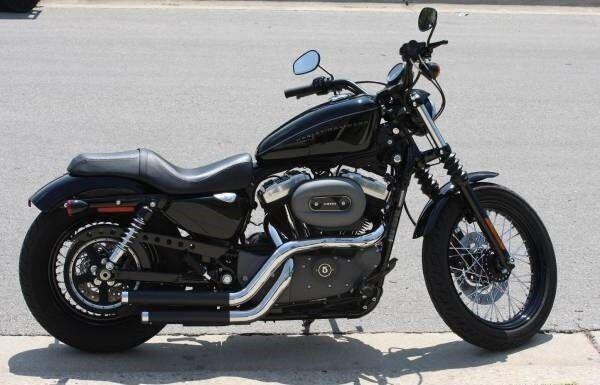 rinehart cross backs black pipes chrome exhaust system harley 04 13 sportster xl