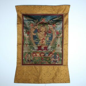 Antique Chinese Collection Tibetan Buddha Silk Tapestry Embroidery Tangka