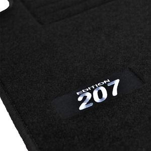 details sur 4 tapis sol peugeot 207 207 sw tous modeles moquette logo blanc specifique