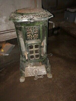 Ancien Poele A Charbon En Fonte Emaillee Vert Signe Deville 107 Art Deco Ebay