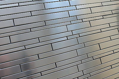 stainless steel random strip mosaic tiles for a kitchen backsplash accent wall