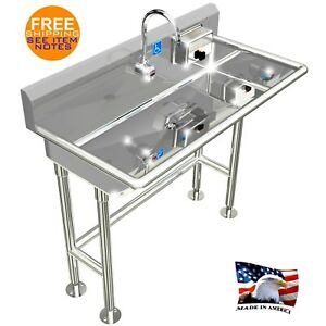 details about ada hand wash sink 1 station 40 electronic faucet free standing stainless steel